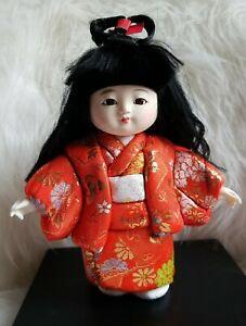 "Vintage Japanese Kimekomi doll in kimono 8 1/2"" tall Japanese Doll"