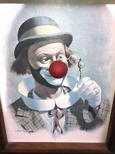 VINTAGE ARTHUR SARNOFF ROLO THE CLOWN MUSIC BOX WIND UP NOSE FRAMED PICTURE