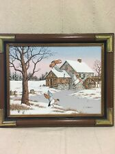 Original Framed and Signed By C. Carson Oil Painting Geese Winter Scene 16 x 11