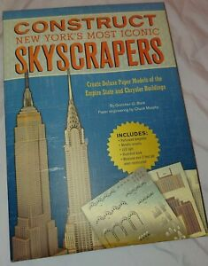 Architectural models Empire State and Chrysler Buildings cardboard, w/ acc.
