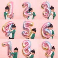 """32"""" Baby Shower Gradient Inflatable Helium Number Foil Balloon Party Decor yu"""