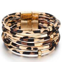 Damen Wickelarmband LederLook Leopard Armband Modeschmuck Manschette Wristband