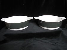 Poole Pottery Pair of PARKSTONE Pie Dishes - grey white veg bowls