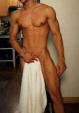 Shirtless Male Muscular Beefcake Nude Hunk Towel Holding Guy Man PHOTO 4X6 G86