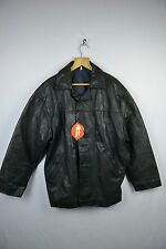 VINTAGE Mens CAFE Leather Jacket Coat HEAVYWEIGHT Button Up ENGLAND Large R1DN