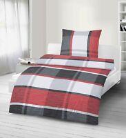 Bettwäsche 2 tlg. Karos rot 155x220 cm (80x80 cm)  Übergröße