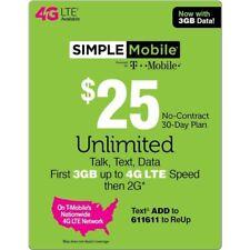 $25 SIMPLE MOBILE ReUp, Top-Up, Prepaid Card, PIN, RECHARGE