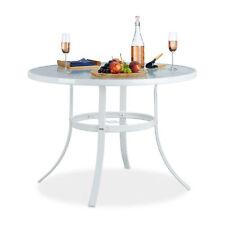 Gartentisch Glas rund STRUK 102 cm, weißer Balkontisch wetterfest, Kaffeetisch