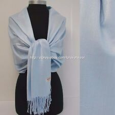 NEW Women Soft PASHMINA SILK Classic Solid Cashmere SHAWL Scarf WRAP Light Blue