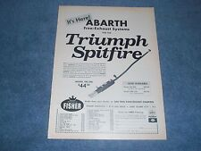"""1964 Triumph Spitfire Abarth Exhaust Systems Vintage Ad """"It's Here"""""""