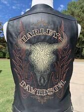 Harley Davidson TIOGA PASS Distressed Leather Vest Medium Southwestern Skull Men