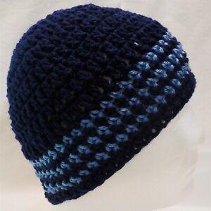 Handmade Navy Blue & Sky Blue Stripes NEW Crocheted Knit Beanie Hat Adult size