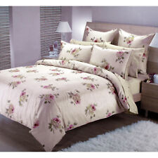 5 Pce - Silk Rose Beige Pink Quilt Cover Set + 2 Eurocases QUEEN