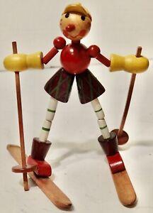 "Vintage 4"" Wood Figure Collapse SKIER Wooden Figure Toy"