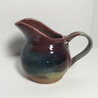 Stoneware Pottery Pitcher Blue, Brown & Tan Small Pitcher