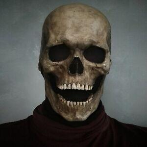 Full Head Skull Skeleton Mask Helmet W/ Movable Jaw Halloween Prop Headgear