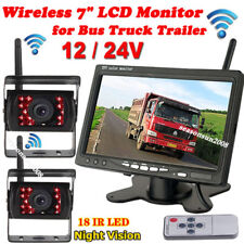 "7"" Wireless Lcd Monitor Rear View System for Bus Truck + 2x 18Leds Backup Camera"
