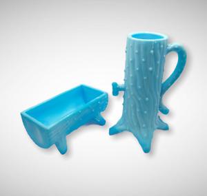 BLUE MILK SLAG GLASS PUMP & TROUGH SET, Depression, Vintage Farm Bowl, Dish Vase