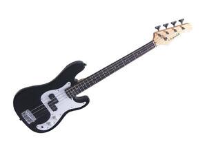 J REYNOLDS JR9B 7/8 SIZE ELECTRIC BASS GUITAR BLACK Perfect For Children & Sm...