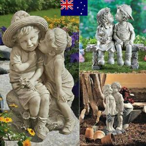 Boy Girl Kissing Memories Statue Outdoor Sculpture Ornament for Fairy Garden