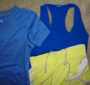 3 Lot Nike Womens S Baby Blue Yellow Dri Fit T Shirt Running Shorts Stretch Tank