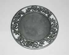Pewter Wine Coaster or Candle Coaster Flowers