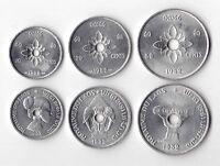 LAOS - 3 DIF UNC COINS SET: 10 - 50 CENTS 1952 YEAR KM#4-6
