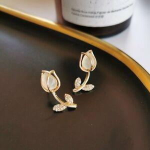Women's Gold Rose Flower Crystal Rhinestone Stud Earrings Jewelry Gift Wholesale