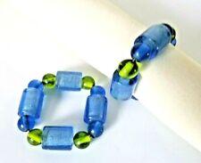 Set of 2 Blue & Green Glass Beaded Napkin Rings