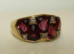 UNUSUAL,RARE,ANTIQUE ART DECO,1920'S 18CT GOLD GEOMETRIC RING/GARNETS & DIAMONDS