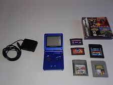 NINTENDO GAME BOY ADVANCED SP COBALT BLUE AGS-001 WITH GAMES & CORD TESTED