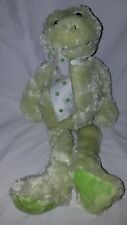 "The Bearington Collection 15"" Plush Green Frog Polka Dot Bow Stuffed Animal"