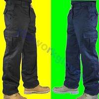 Mens Cargo Combat Work Trousers Size 28 to 52 Black or Navy By UNEEK