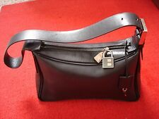 BALLY Black Genuine Leather Lock & Key Shoulder Purse Structured Bag Italy Made