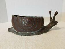 "Vintage Bronze Verdigris Snail Planter 10 3/4"" Long x 4 1/4"" Tall & Heavy 4+ LB."