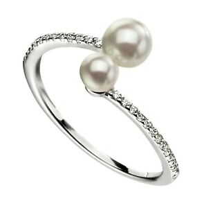 Sterling Silver Double Pearl Ring Pave CZ 925 Hallmarked Size K - S