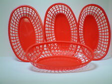 4 Red FOOD BASKETS! for Hamburger, Hot Dog, French Fries - Have a RETRO Party!