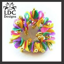 Unique Colorful Beaded Petal Ponytail Elastic Scrunchie Gold Bead Accent