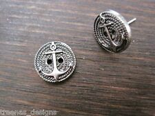 ANCHOR ROPE BUTTON NAUTICAL STUD Earrings Silvertone