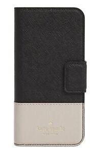 Kate Spade NY 256602 Woman Black Beige iPhone 7/8 Plus Leather Folio Case