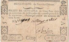 Revolution Auvergne billet de confiance 5 sous / French emergency note