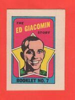1971-72 O-Pee-Chee OPC  # 7 Ed Giacomin Booklet  nrmnt+