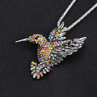 Betsey Johnson Crystal Rhinestone Hummingbird Pendant Chain Necklace/Brooch Pin