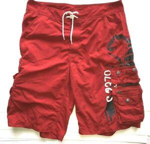 Polo Ralph Lauren Men's Red Swim Trunk Scorpion Logo Cargo Board Shorts Sz 32