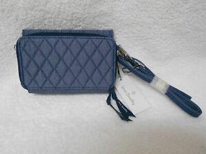 Vera Bradley 3-In-1 Crossbody RFiD Moonlight NavyDenim Phone Case Wallet NWT $95