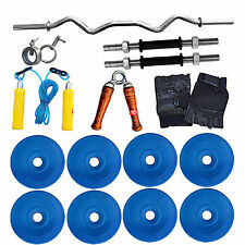 Fitfly  Branded 20 kg PVC Weight (Blue) with 3 ft Curl Rod Wit Gym Accessories