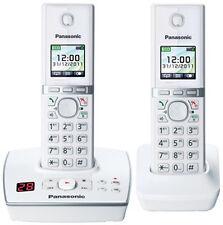 ¡Duo de teléfonos inalámbricos Panasonic KX-TG8062 DECT con blanco como nuevo!