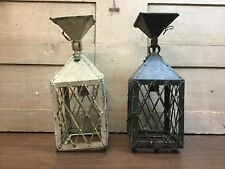Vintage Pair Painted Brass Hanging Outdoor Lamps Pair Fenced Mission Black White