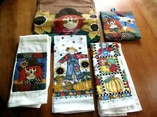 """New listing Scarecrow and Sunflower Set Tea Towels Pot Holder Table Runner 36"""" x 13"""" (0056)"""