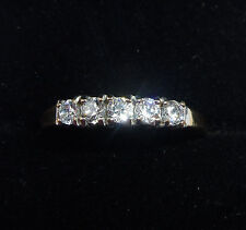 9ct Gold CZ Five Stone Half Eternity Ring, Size O 1/2